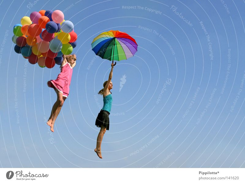 everything's possible Joy Happy Life Contentment Vacation & Travel Freedom Summer Feasts & Celebrations Child Aviation Human being Girl Woman Adults 2 Air Sky