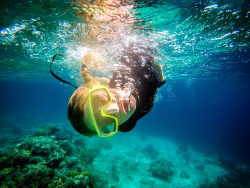 Like a fish in water Snorkeling Dive Feminine Young woman Youth (Young adults) Woman Adults 1 Human being 18 - 30 years Water Coast Beach Reef Coral reef Ocean