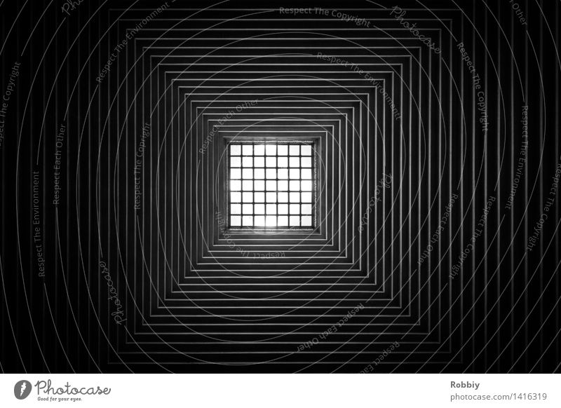 square Window Roof Building Grating Mesh grid Design Style Town Symmetry Square Structures and shapes Geometry Simple Architecture Line Black & white photo