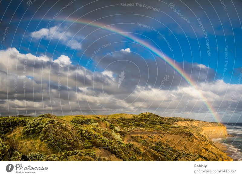 Where's the pot full of gold? Environment Nature Landscape Plant Beautiful weather Rain Park Meadow Hill Rock Coast Ocean Rainbow Great Ocean Road Esthetic