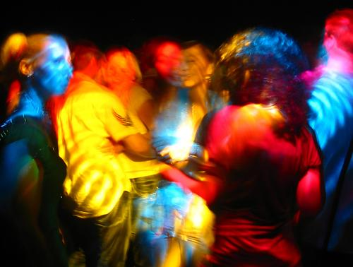 party lights Joy Lamp Night life Party Music Club Disco Going out Feasts & Celebrations Clubbing Dance Human being Group Blue Yellow Red Colour Colour photo