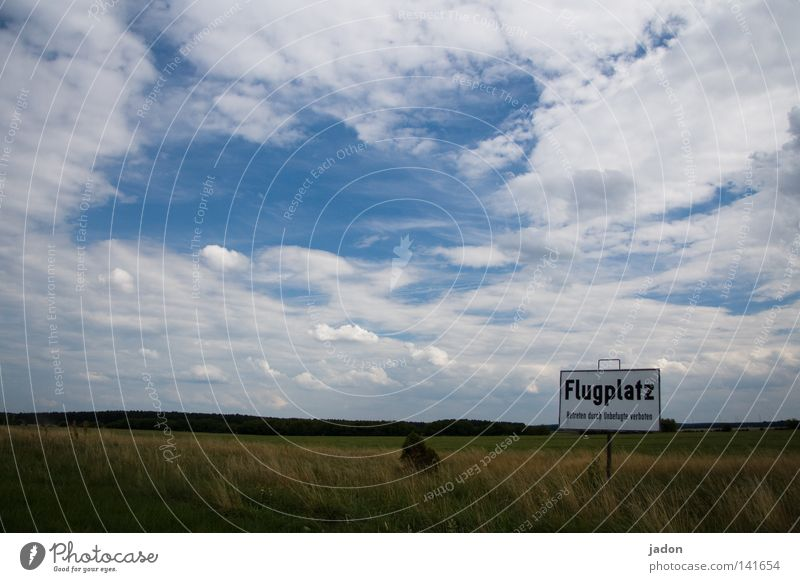 Yeah, where do they fly? Airfield Air show Runway Sky Clouds Airplane Brandenburg Airport Bans Gliding Flying Blue Sky blue Meadow Green Field Far-off places