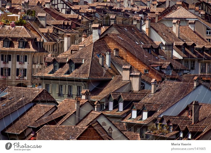 Above the roofs of Bern Switzerland Canton Bern Berne House (Residential Structure) Roof Window Chimney Brick Roofing tile Shingle Building Accommodation Town