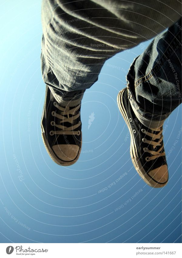 Sky Youth (Young adults) Blue Sun Summer Black Freedom Legs Air Feet Footwear Flying Aviation Jeans Beautiful weather