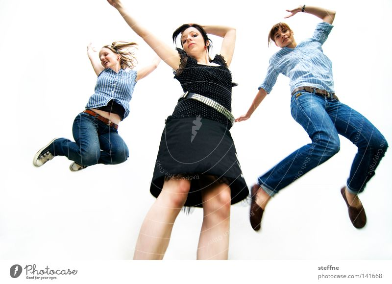 Skier Songers [Weimar 2008] Cheerleader Applause Jump Woman Hop Exuberance Joy Posture Clothing Fashion Rock'n'Roll Rock music Jeans Rockabilly Isolated Image