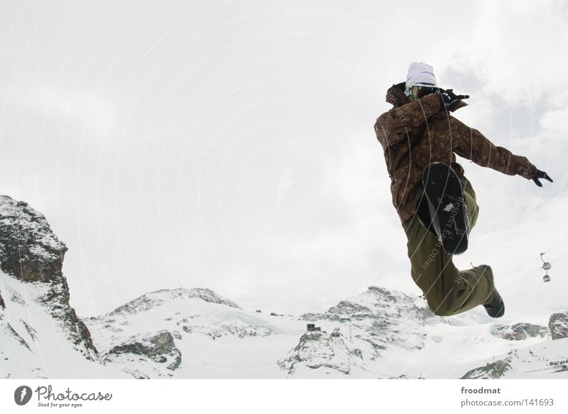 Sky Man Youth (Young adults) White Winter Joy Cold Snow Mountain Jump Flying Fresh Action Pelt Switzerland Dynamics