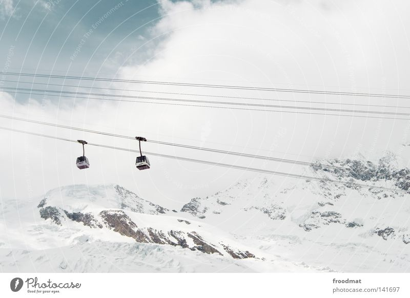 Sky White Winter Cold Snow Mountain Switzerland Passenger traffic Glacier Snowcapped peak Gondola Cable car Bright background