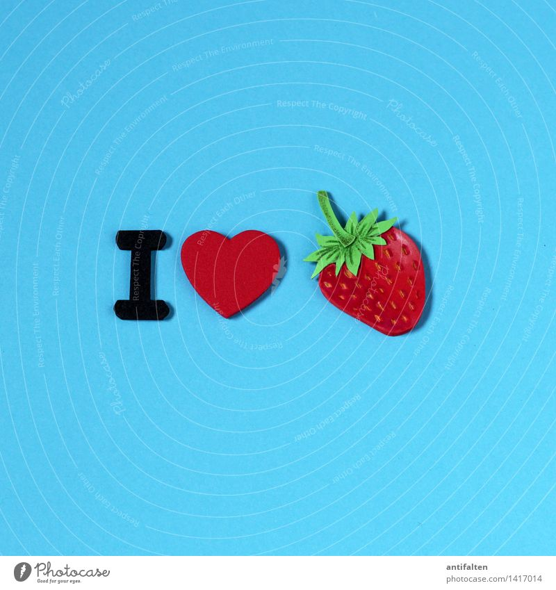 Blue Summer Red Joy Eating Healthy Food Design Fruit Leisure and hobbies Characters Nutrition Heart Sweet Cute Painting (action, artwork)
