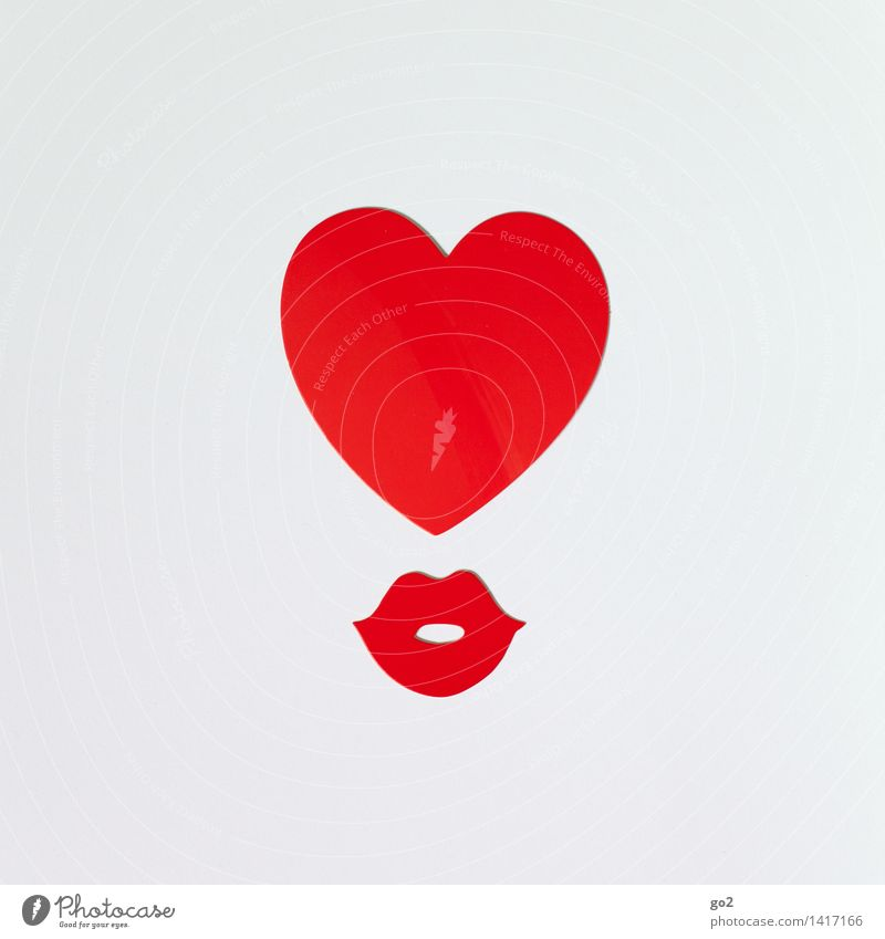 Heart and Mouth Valentine's Day Mother's Day Birthday Lips Paper Sign Kissing Esthetic Kitsch Red White Emotions Happy Joie de vivre (Vitality) Spring fever