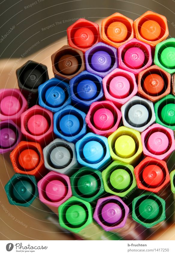 crayon honeycomb Collection Crayon Fresh Multicoloured Felt-tipped pen Honeycomb Honeycomb pattern Office Playing Colour photo Interior shot Deserted