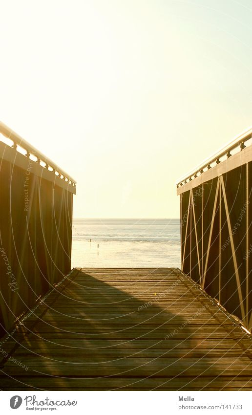 Sun Ocean Beach Vacation & Travel Calm Relaxation Lanes & trails Moody Coast Perspective Bridge Break End Footbridge North Sea