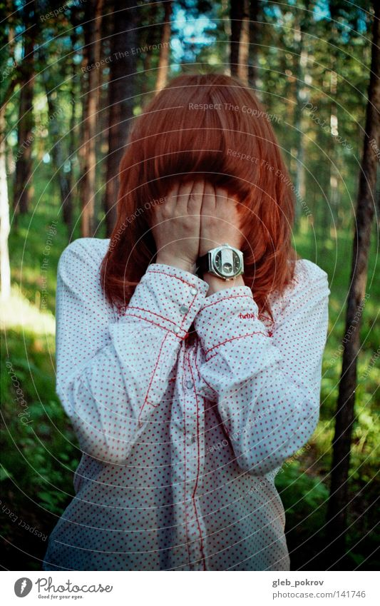 deep in forest. Hair and hairstyles Face Hand American Sycamore Clothing Wood Nature Sky Forest Fear Panic hands palms elbows Red watches shirts flora red-hair
