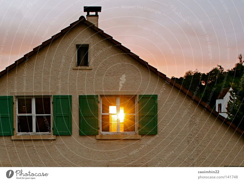 ray of hope Window Sun House (Residential Structure) Roof Church Church spire Light Bright Yellow Sunbeam Sunset Brick Facade Clouds Sky Evening Pervasive