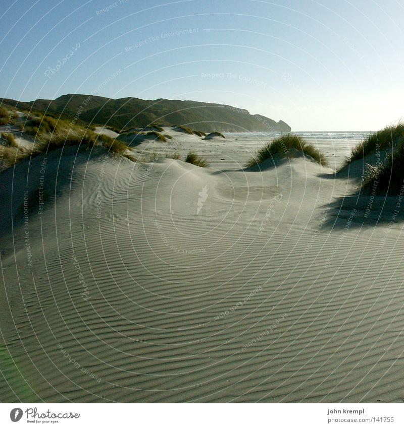 Sky Ocean Beach Far-off places Lamp Grass Sand Coast Earth Empty Beach dune New Zealand Diffuse Farewell Spit Abel Tasman National Park
