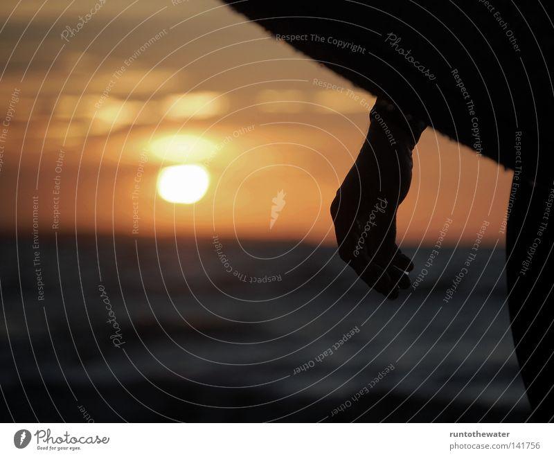 Ocean Beach Relaxation Coast Sand Waves Wind Baltic Sea Dusk Wooden board Surfer Kiel Closing time Longboard