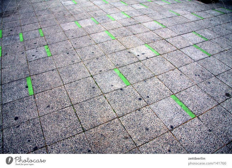 Green Strokes Sidewalk Footpath Courtyard Street Pavement Line Perspective Seam Signs and labeling Information Pattern Traffic infrastructure Transport Pointing