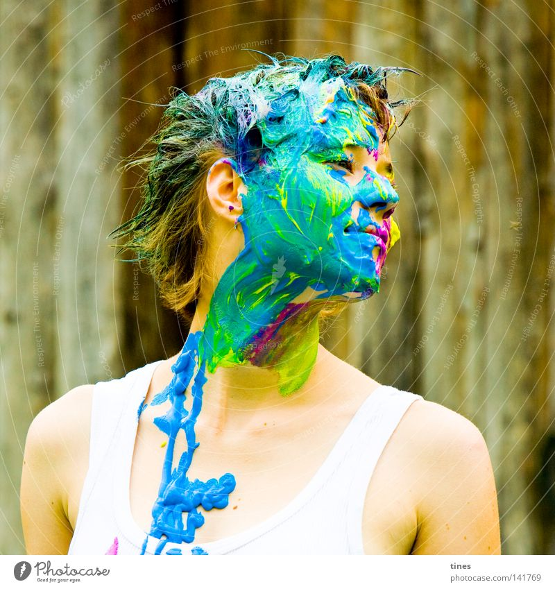 Woman Human being Green Blue Face Yellow Colour Action Wood Hair and hairstyles Graffiti Art Ear Animal face Tracks Painting (action, work)