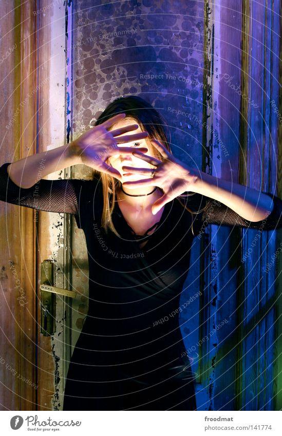 Woman Hand Beautiful Green Face Colour Lighting Fear Dress Violet Creepy Decline Hide Surrealism Panic Flashy