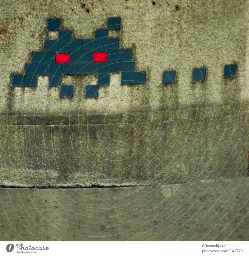 Swiss Invaders Mosaic Space Invaders Extraterrestrial being Old-school Switzerland Canton Bern Berne Foreign Concrete Plaster Wall (building) Bridge Detail
