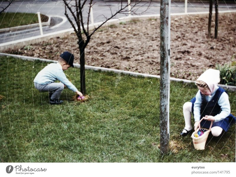 Happy Easter! Search Basket Meadow Old-school Sixties Seventies Happiness Safety (feeling of) Tree Spring Child Girl Siegerland Egg egg search Street Former Hat