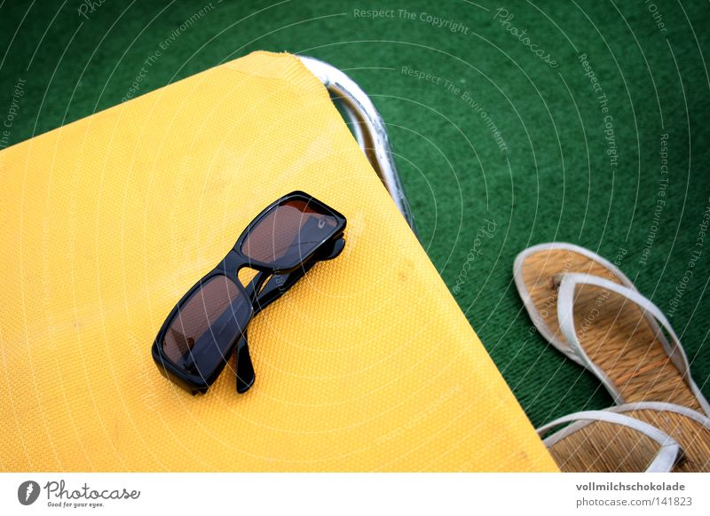 Vacation on artificial turf Cruise Sunglasses Footwear Flip-flops Beach Vacation & Travel White Yellow Green Black Silver Couch Deckchair Cocktail