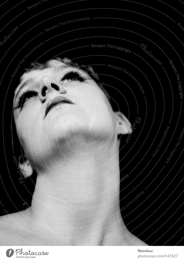 Own type Woman Neck Portrait photograph Human being Lips Strange Whimsical Exceptional Black & white photo Gullet Dark Conceited Arrogant Beautiful Esthetic