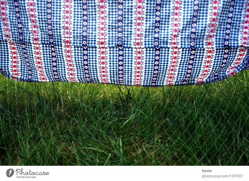 let loose Bedclothes Grass Meadow Lawn Blue Red White Green Hang up Dry Pattern Household Flower hung Checkered