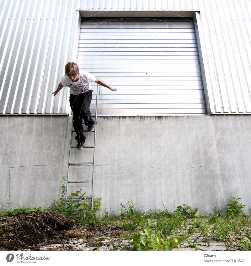 Human being Man Green Summer Architecture Ladder Metal Contentment Door Going Walking Masculine Stairs Force Crazy Perspective