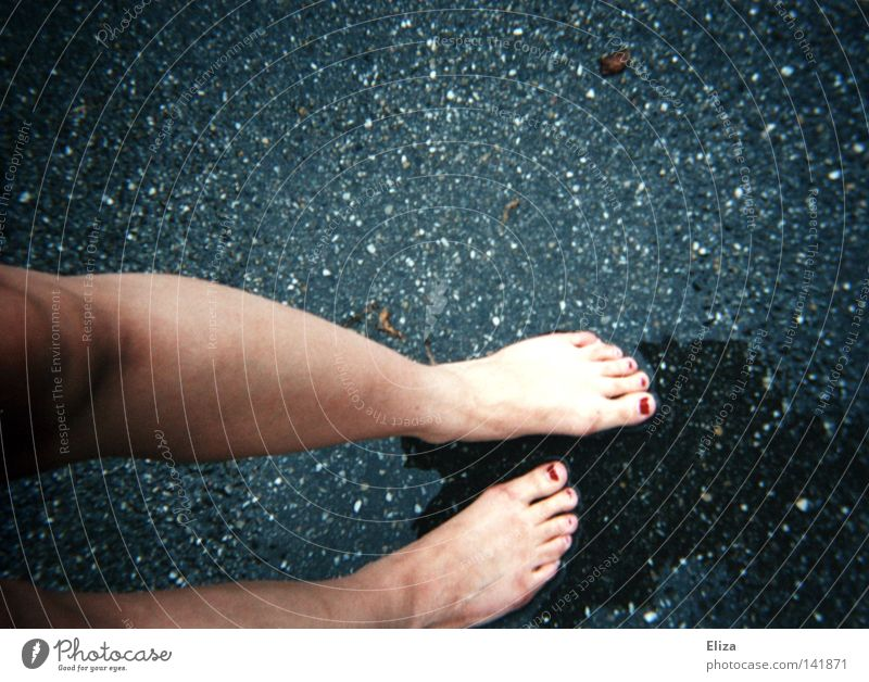 Tracing I Nail polish Legs Feet Water Autumn Rain Thunder and lightning Street Cold Wet Tracks Search Damp Asphalt Knee Toes Barefoot Fingernail Girl Poverty