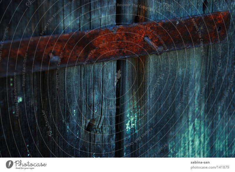 door lock Door Wood Rust Esthetic Transience Nail Locking bar Wooden board Barrier Column Door lock Derelict russet Old Colour photo Reflection