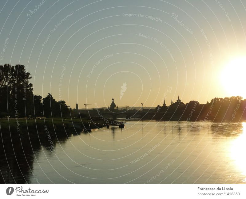 Florence on the Elbe Trip City trip Cruise Sun Water Cloudless sky Spring Autumn Beautiful weather River bank Dresden Saxony Town Capital city Skyline Deserted