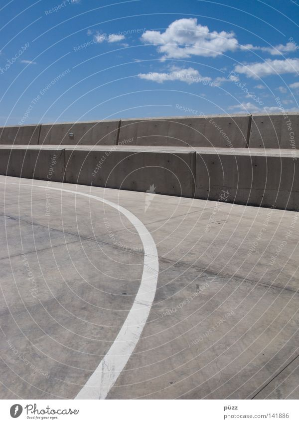 Sky White Blue Clouds Street Wall (building) Gray Wall (barrier) Line Signs and labeling Concrete Illustration Traffic infrastructure Lane markings