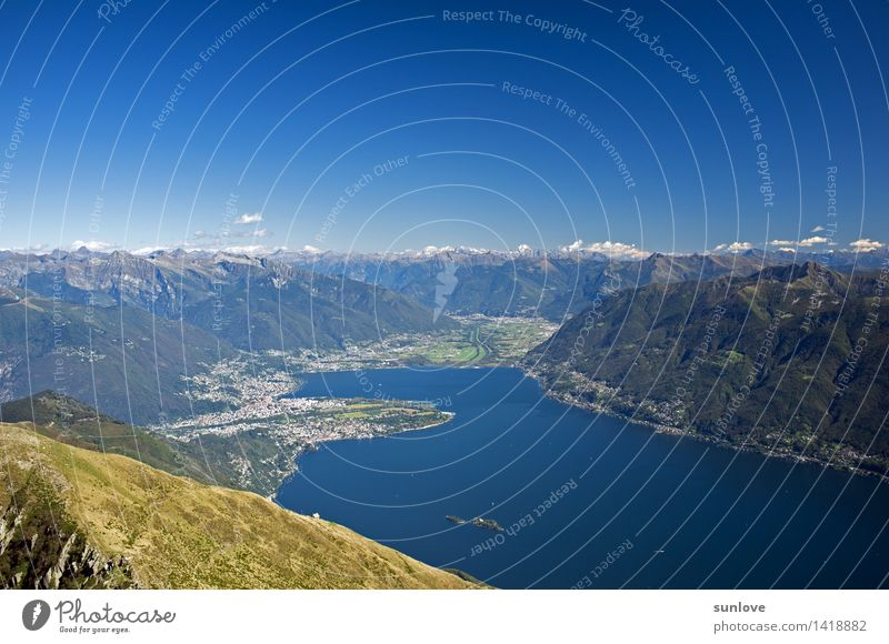 View on the swiss mountains and on the lake maggiore Nature Vacation & Travel Summer Water Tree Landscape Forest Mountain Environment Spring Grass Lake Horizon