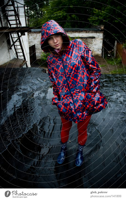 rain. Woman Water Red Colour Fashion Rain Clothing Industry Factory Boots Coat Tights Russia Siberia Silo Slick