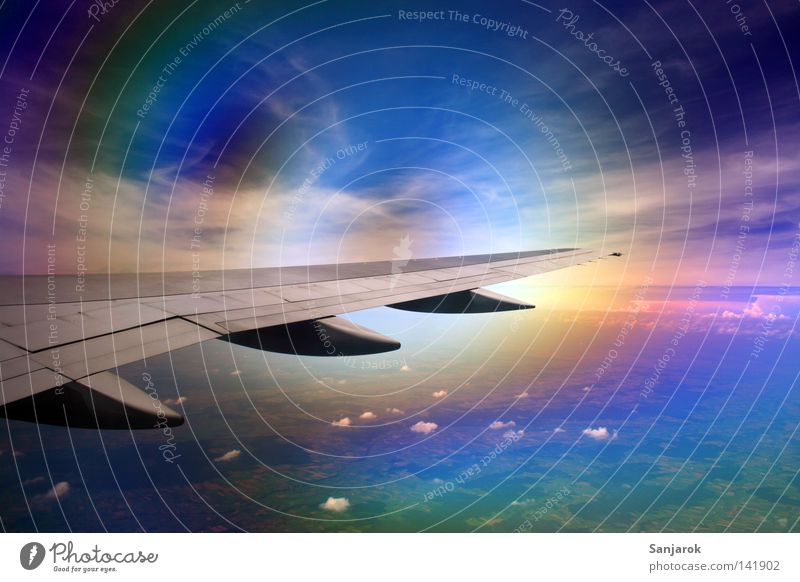 Sky Blue Clouds Far-off places Colour Window Airplane Glass Flying Aviation Fantastic Natural phenomenon Wing Airport Obscure Conduct