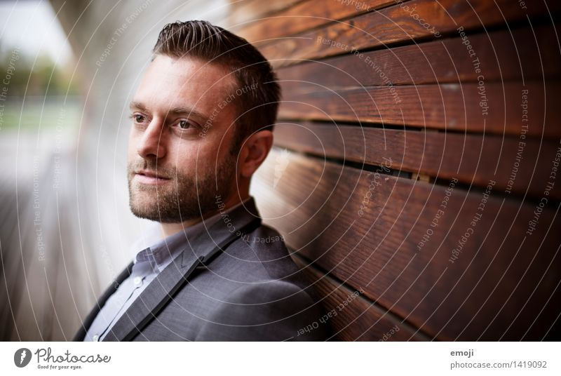 gradient Masculine Young man Youth (Young adults) Adults 1 Human being 18 - 30 years Brunette Short-haired Facial hair Beautiful Colour photo Exterior shot Day