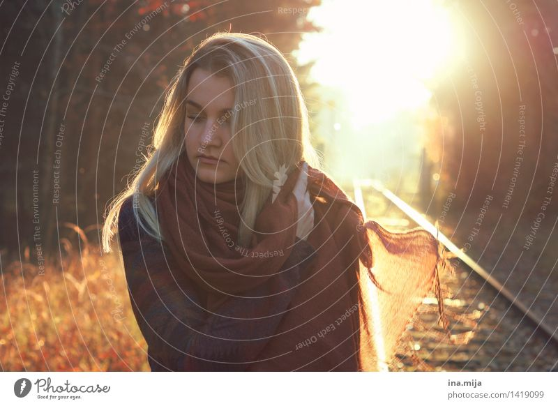 on the tracks of life Human being Feminine Life Face 1 18 - 30 years Youth (Young adults) Adults Environment Nature Autumn Beautiful weather Fashion Clothing