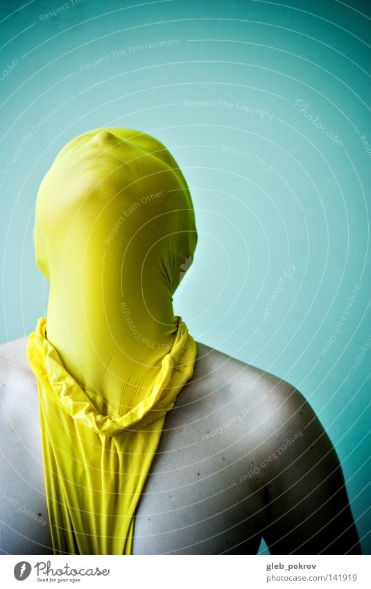 yellow. Art Face Light (Natural Phenomenon) Wall (building) Clothing Tights Yellow Mask Dress up Disguised Ego Identity Exceptional Mens upper part of body