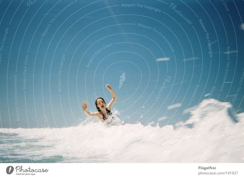 Have fun! Joy Vacation & Travel Freedom Summer Beach Ocean Waves Woman Adults Air Water Sky Beautiful weather Wind Coast Places Bikini Movement Laughter Scream