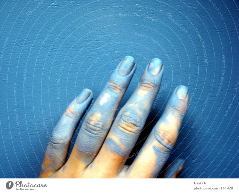 Woman Blue Hand Colour Yellow Playing Dye Art Line Arrangement Fingers Painting (action, work) Wrinkles Long 5 Thin