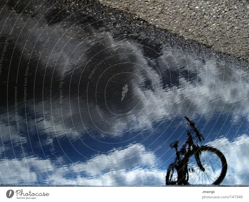 I like my bike Bicycle Wet Water Mirror Sky Clouds Driving Stand Parking Cycling tour Summer Asphalt Street Silhouette Reflection Unclear Blur Mountain bike