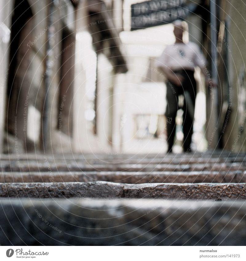 Human being Man Loneliness Dark Lanes & trails Going Stairs Under Forwards Sidewalk Footpath Traffic infrastructure Stick Downward Handicapped Blind