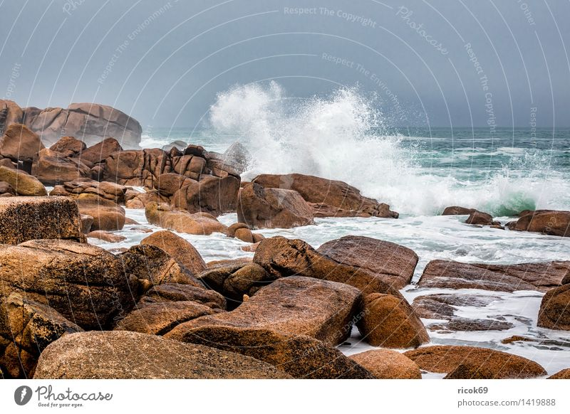 Nature Vacation & Travel Relaxation Ocean Landscape Coast Stone Rock Tourism Waves Tourist Attraction France Atlantic Ocean Granite Geology