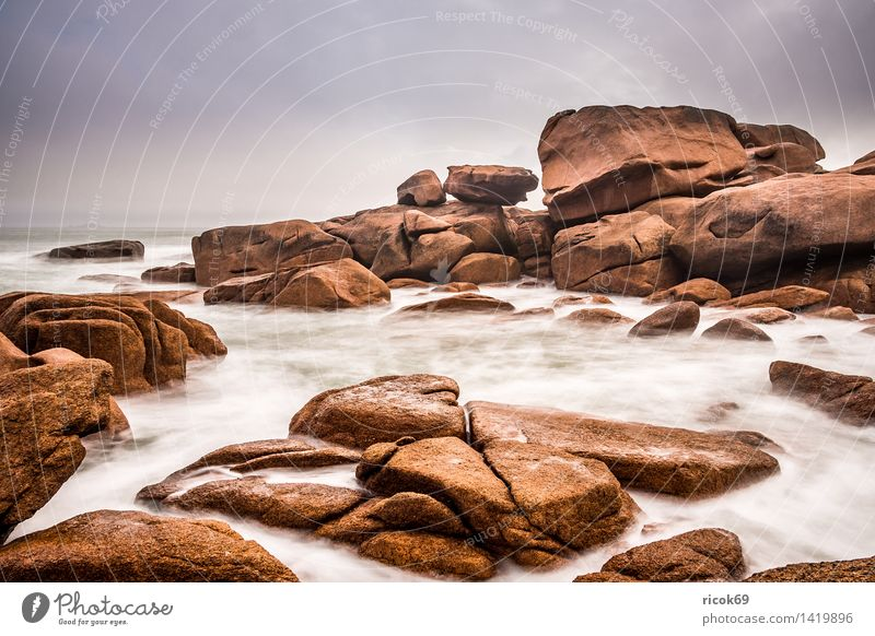 Nature Vacation & Travel Relaxation Ocean Landscape Coast Stone Rock Tourism Tourist Attraction France Atlantic Ocean Granite Geology Brittany