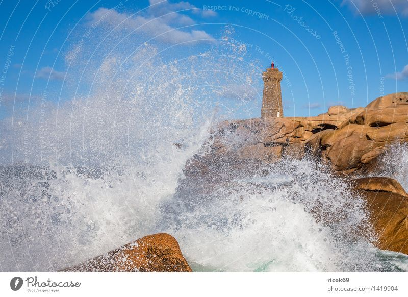 Nature Vacation & Travel Relaxation Landscape Coast Stone Rock Tourism Tourist Attraction France Lighthouse Atlantic Ocean Granite Geology Brittany