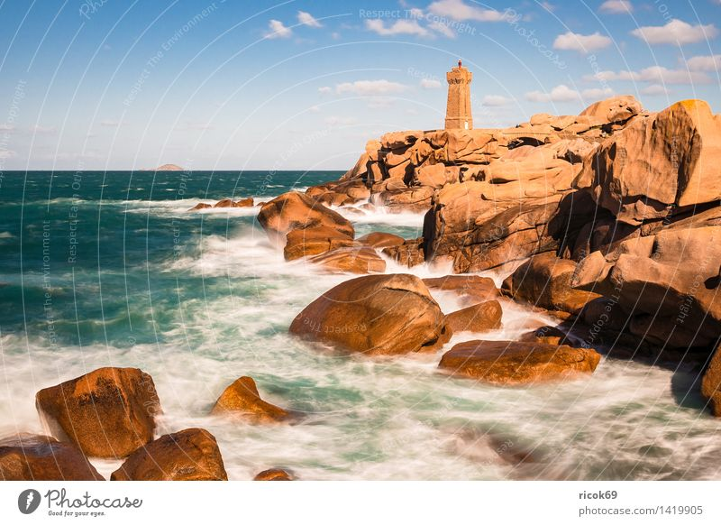 Nature Vacation & Travel Relaxation Ocean Landscape Clouds Coast Stone Rock Tourism Tourist Attraction France Lighthouse Granite Geology