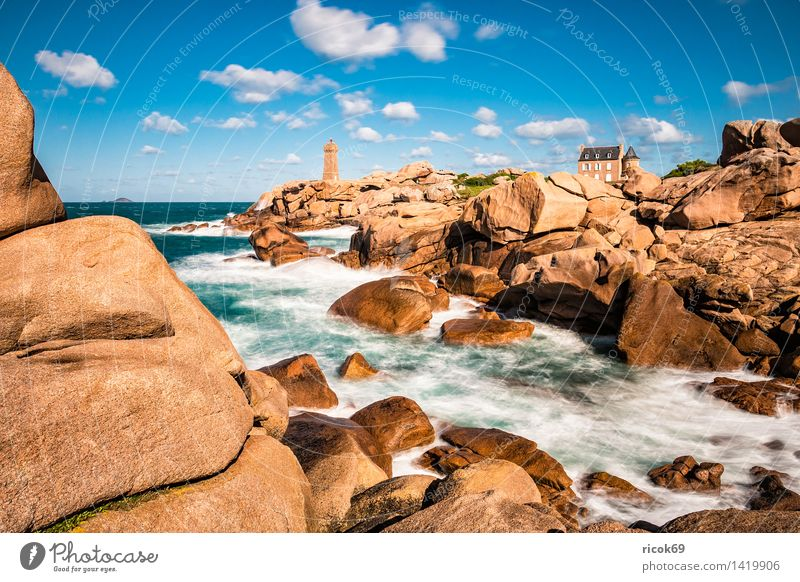 Nature Vacation & Travel Relaxation Ocean Landscape Coast Rock Tourism Tourist Attraction France Lighthouse Atlantic Ocean Granite Geology Brittany
