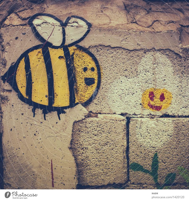 Old Flower Animal Joy Yellow Wall (building) Graffiti Funny Wall (barrier) Gray Flying Facade Infancy Communicate Sex Joie de vivre (Vitality)