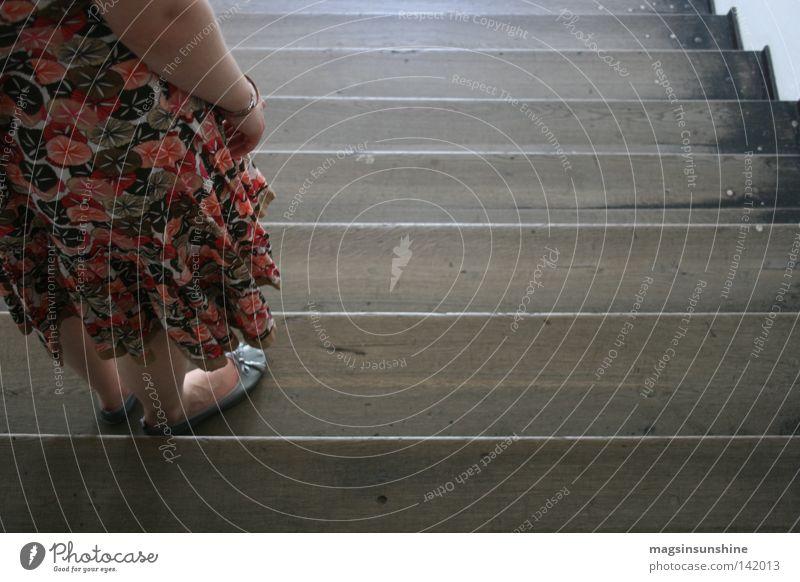 ...::... Stairs Still Life Woman Flower Dress Wood Stand Bird's-eye view Photographic technology