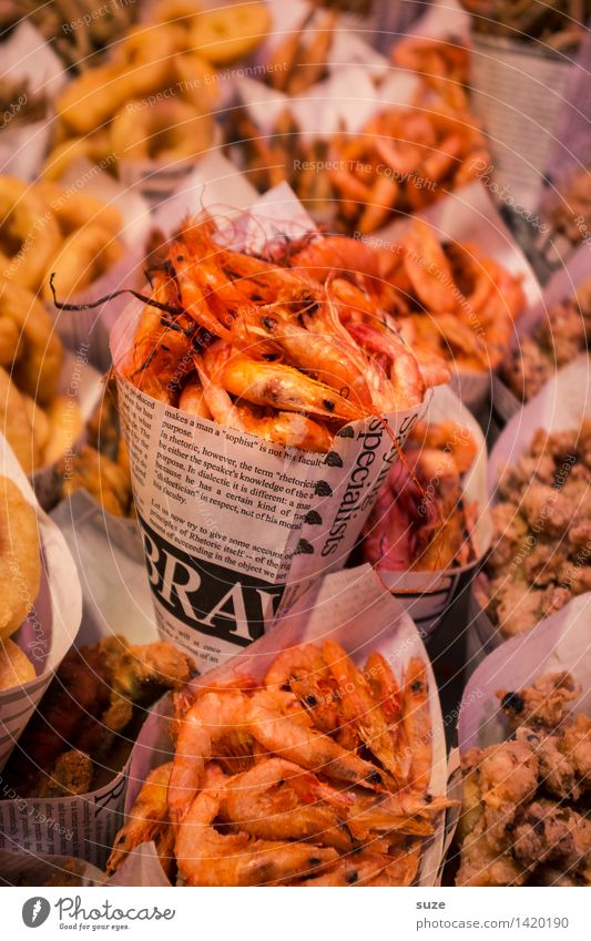 Shrimps to go Food Seafood Nutrition Eating Fast food Asian Food Healthy Eating Animal Exotic Fresh Barcelona Marine animal Paper bag Dish Food photograph